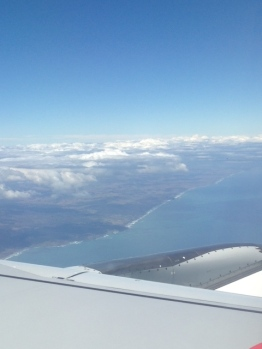 You can see the waves hitting the coast. We flew over Raglan, which was pretty unreal.