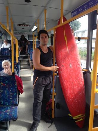 Got my borrowed surfboard to Sumner visa transit (that's my friend Jason)