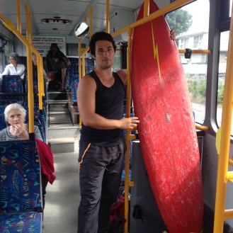 Got my borrowed surfboard to Sumner visa transit (that's my friend Jason)