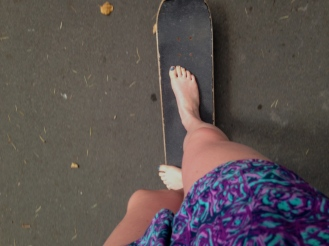 Skateboarding barefoot to class - I wouldn't do it unless I saw others doing it.