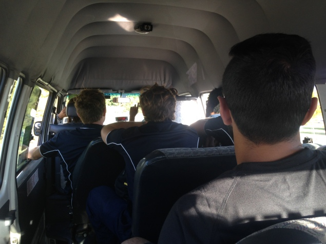 Us and the Nelson football team in the taxi van